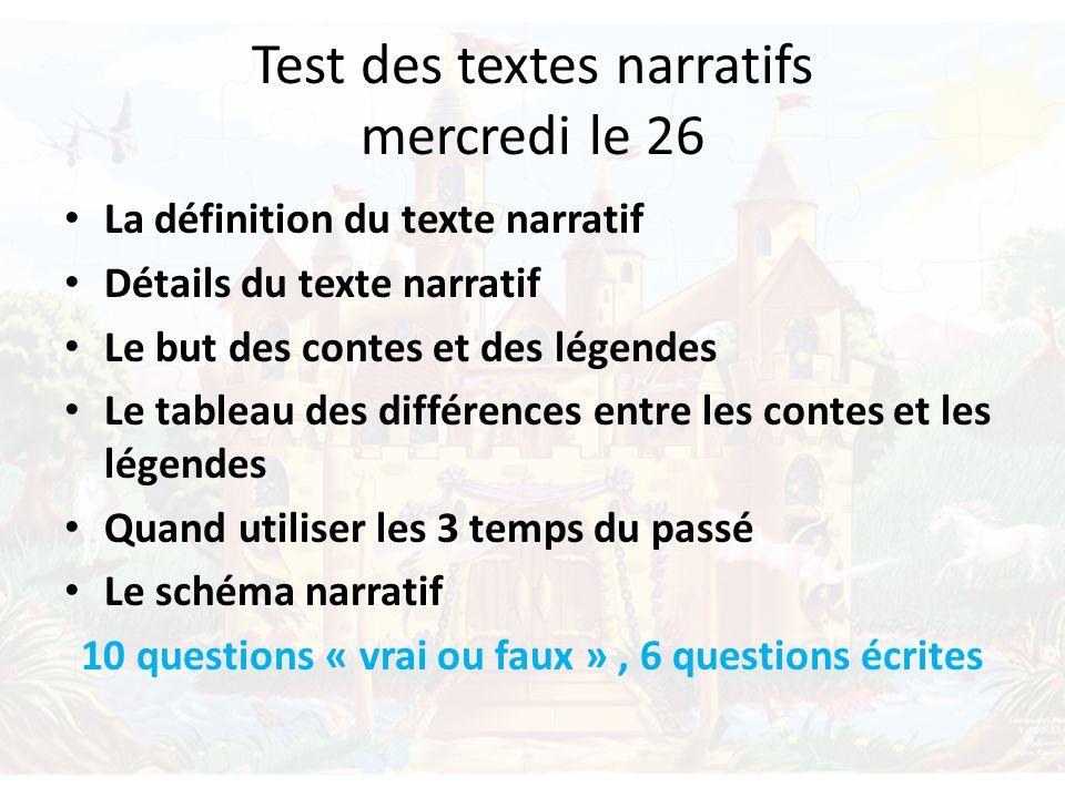 Test des textes narratifs mercredi le 26