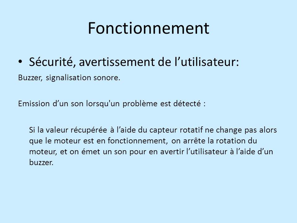 Fonctionnement Sécurité, avertissement de l'utilisateur: