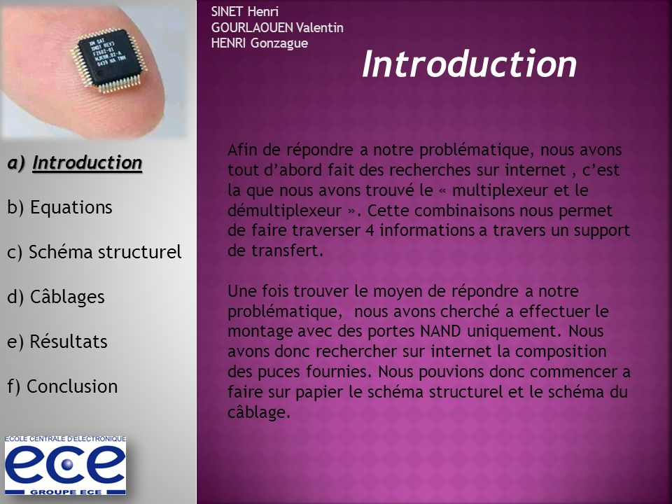 Introduction Introduction b) Equations c) Schéma structurel