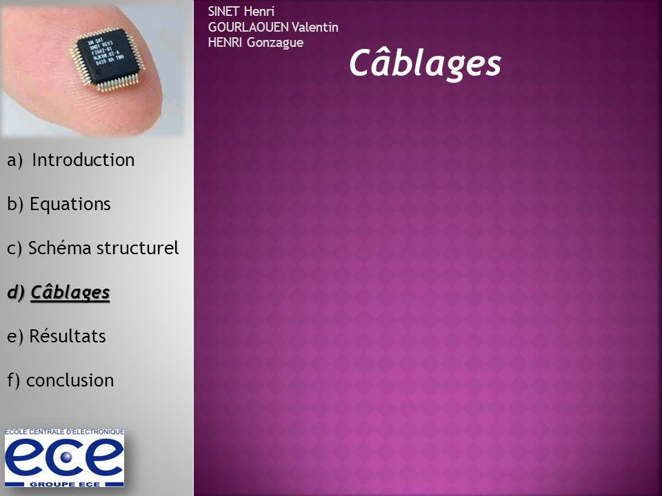 Câblages Introduction b) Equations c) Schéma structurel d) Câblages