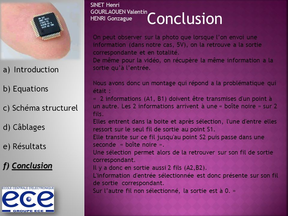 Conclusion Introduction b) Equations c) Schéma structurel d) Câblages