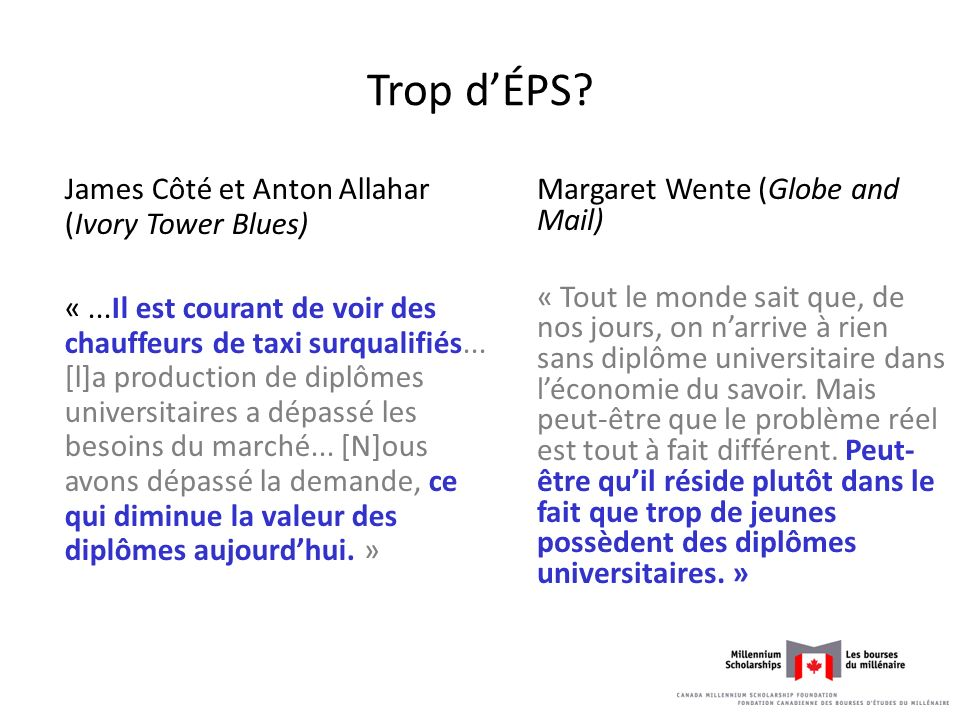 Trop d'ÉPS James Côté et Anton Allahar (Ivory Tower Blues)