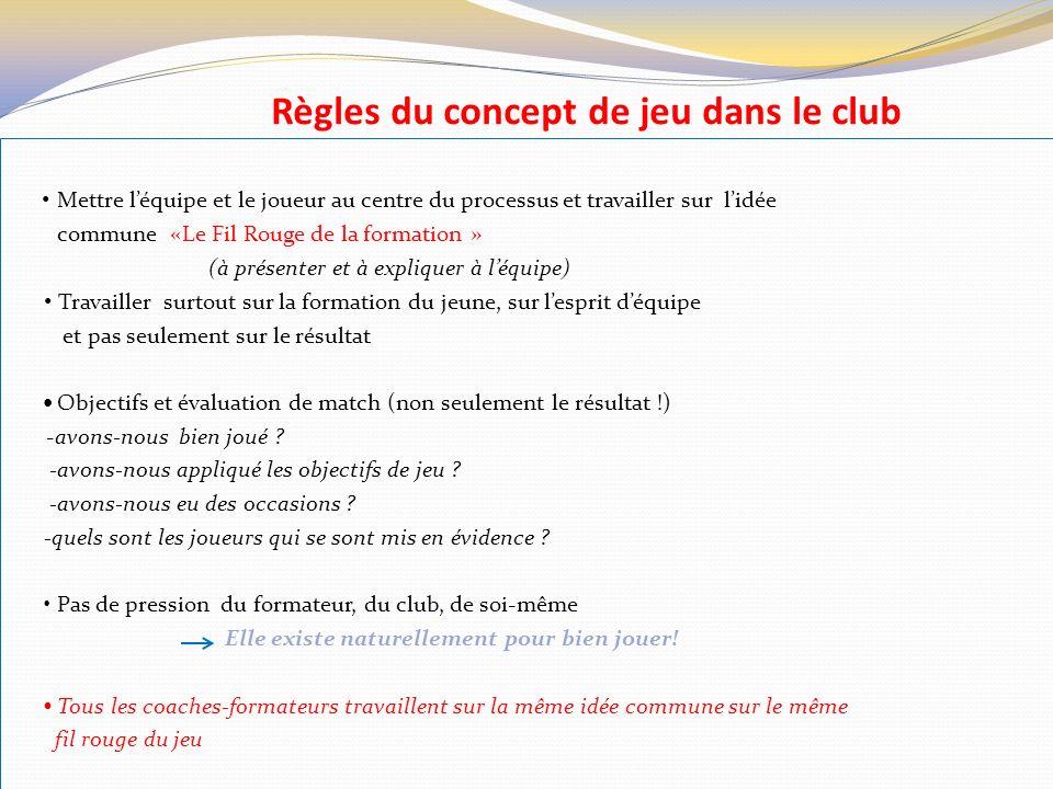 Règles du concept de jeu dans le club