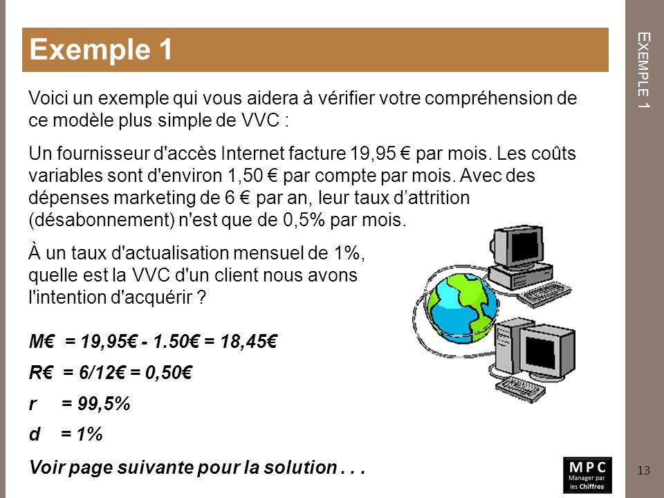 Exemple 1 Exemple 1. Voici un exemple qui vous aidera à vérifier votre compréhension de ce modèle plus simple de VVC :