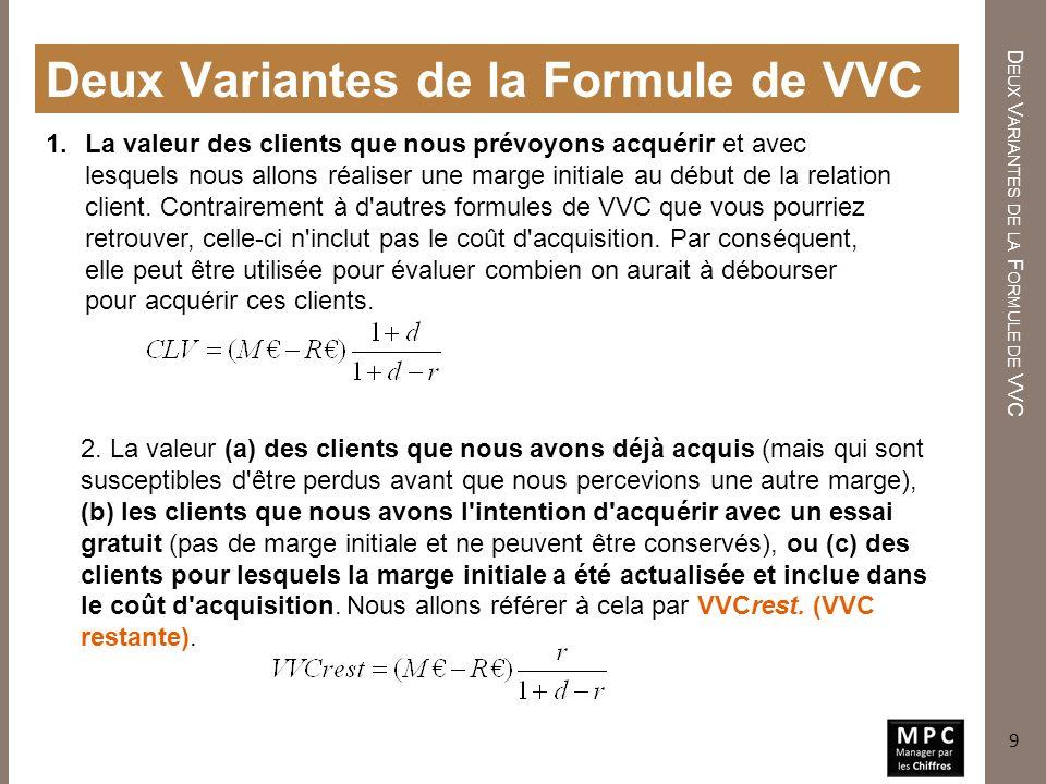 Deux Variantes de la Formule de VVC