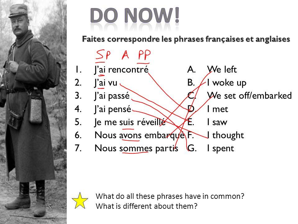 Faites correspondre les phrases françaises et anglaises
