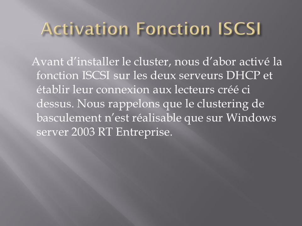 Activation Fonction ISCSI