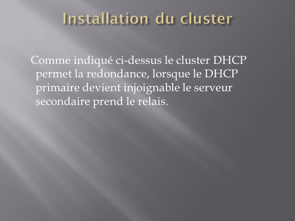 Installation du cluster