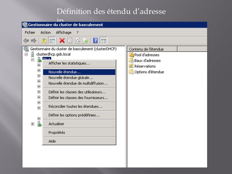 Définition des étendu d'adresse ip