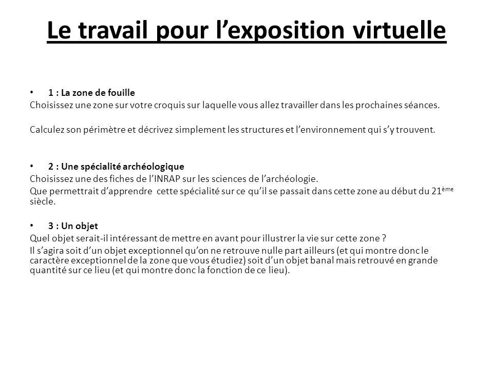 Le travail pour l'exposition virtuelle