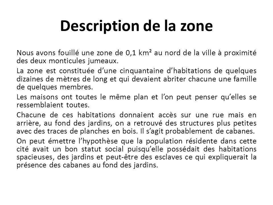 Description de la zone