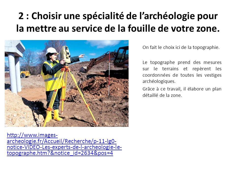 2 : Choisir une spécialité de l'archéologie pour la mettre au service de la fouille de votre zone.