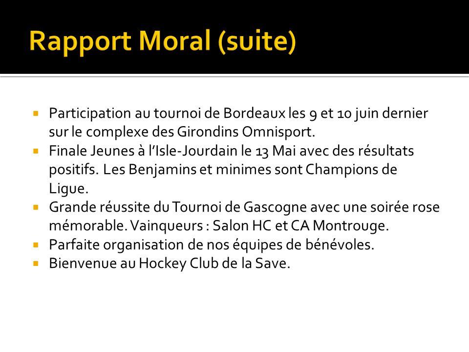 Rapport Moral (suite) Participation au tournoi de Bordeaux les 9 et 10 juin dernier sur le complexe des Girondins Omnisport.