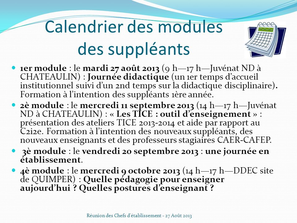 Calendrier des modules des suppléants