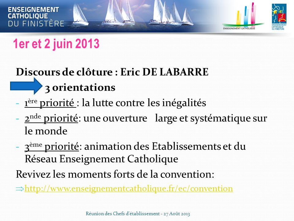 Convention Enseignement Catholique 1er et 2 juin 2013