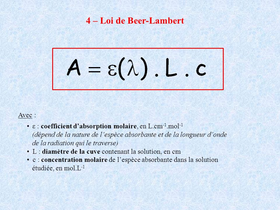 4 – Loi de Beer-Lambert Avec :