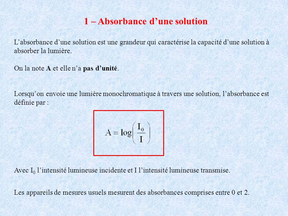 1 – Absorbance d'une solution