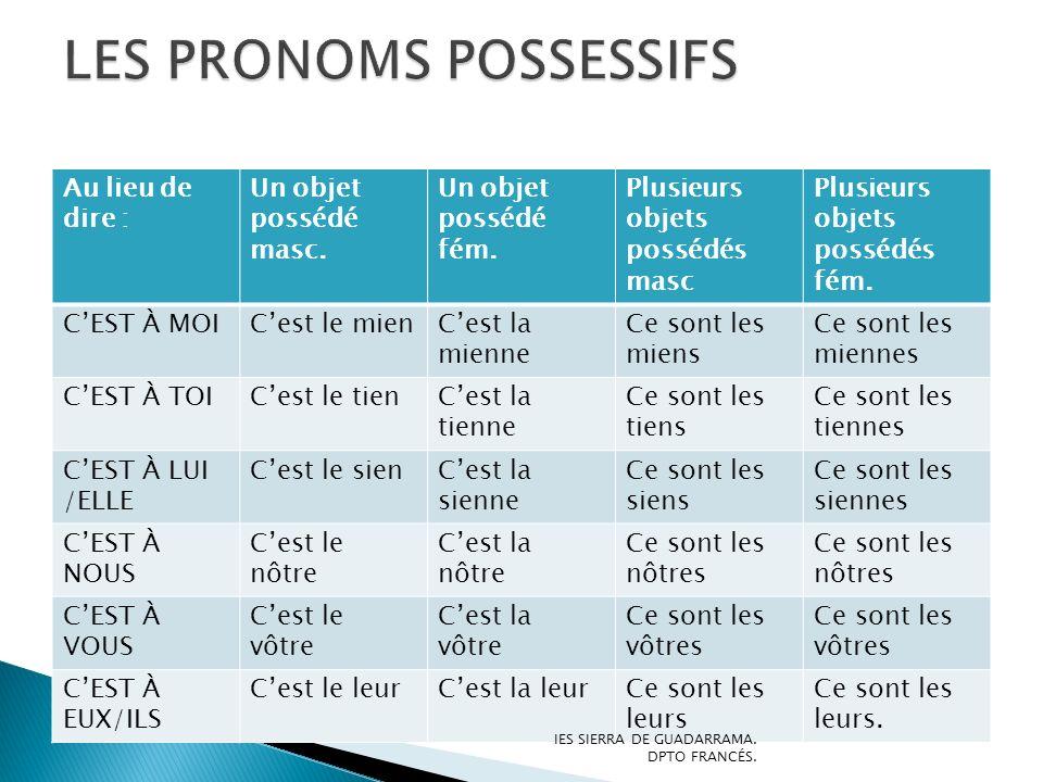 LES PRONOMS POSSESSIFS