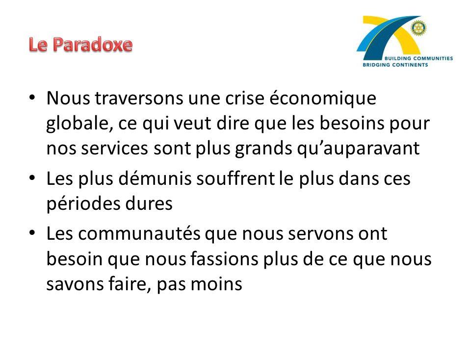 Le Paradoxe Nous traversons une crise économique globale, ce qui veut dire que les besoins pour nos services sont plus grands qu'auparavant.