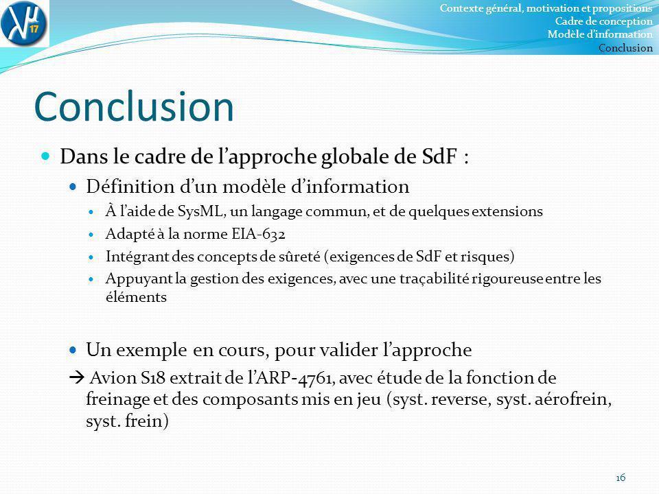 Conclusion Dans le cadre de l'approche globale de SdF :