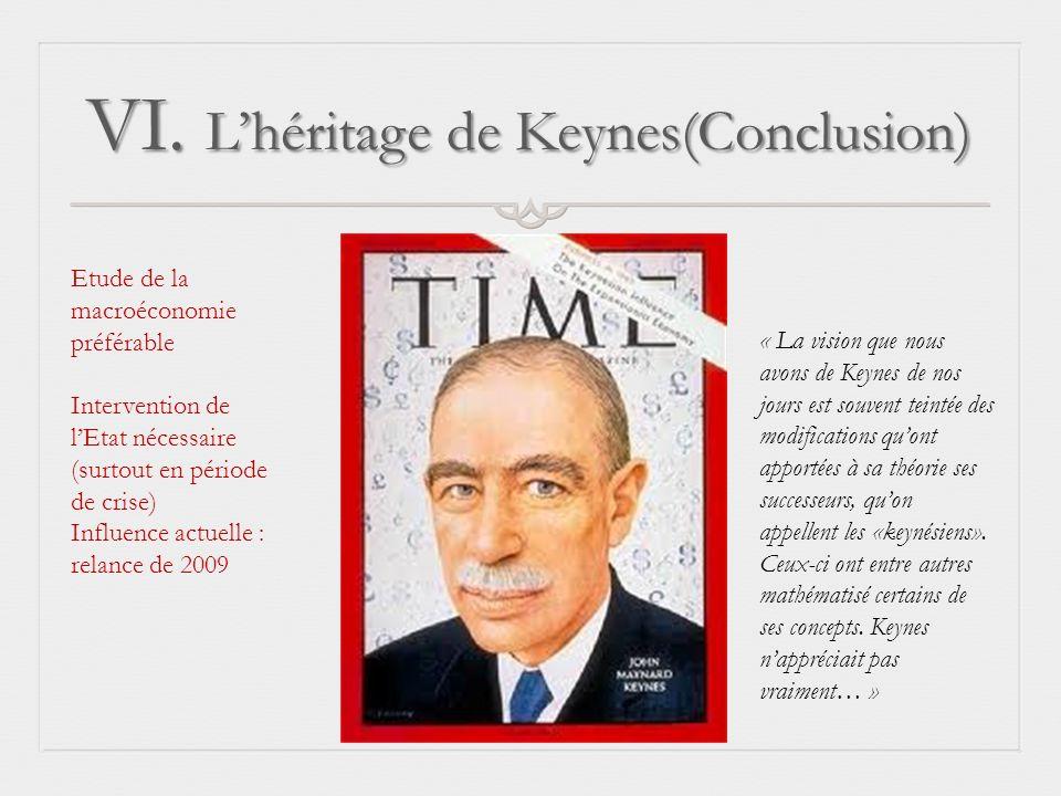 VI. L'héritage de Keynes(Conclusion)