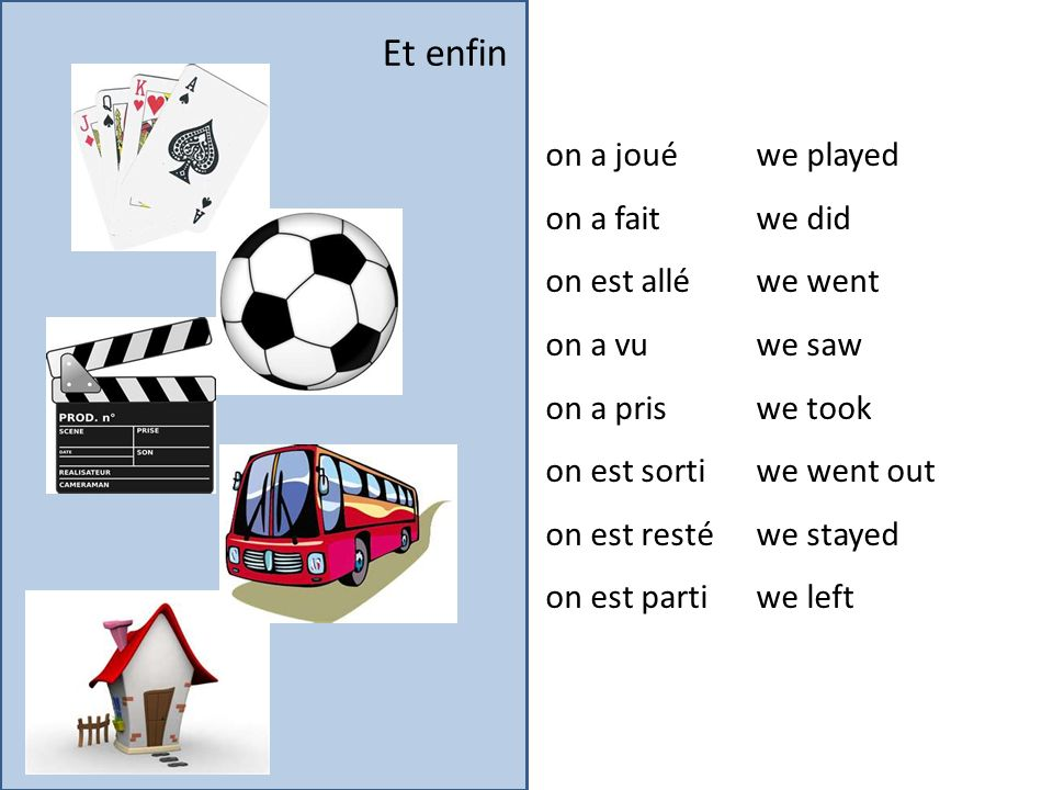Et enfin on a joué we played on a fait we did on est allé we went