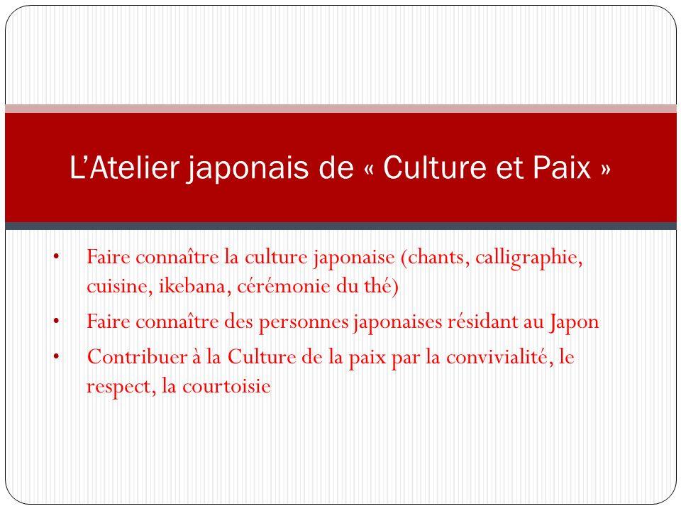 L'Atelier japonais de « Culture et Paix »