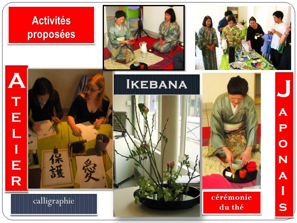 Japona A Ikebana T E L I R I s Activités proposées calligraphie