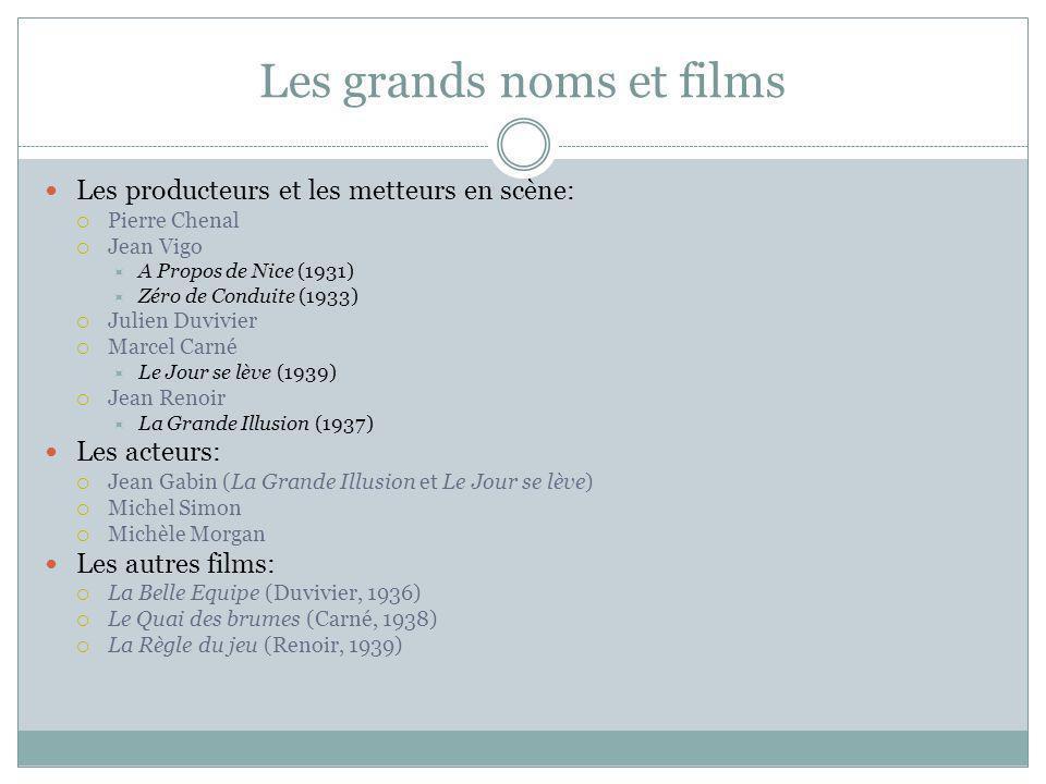 Les grands noms et films