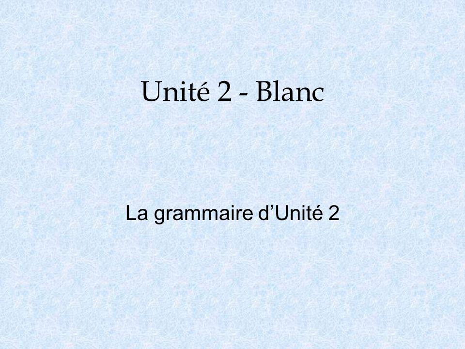 Unité 2 - Blanc La grammaire d'Unité 2