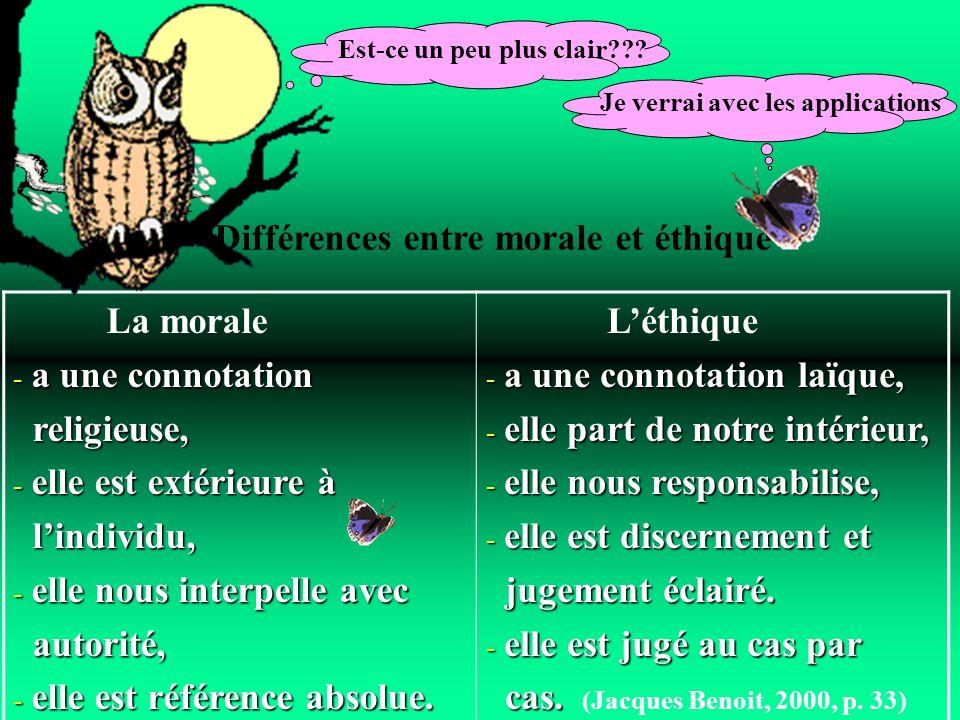 Différences entre morale et éthique
