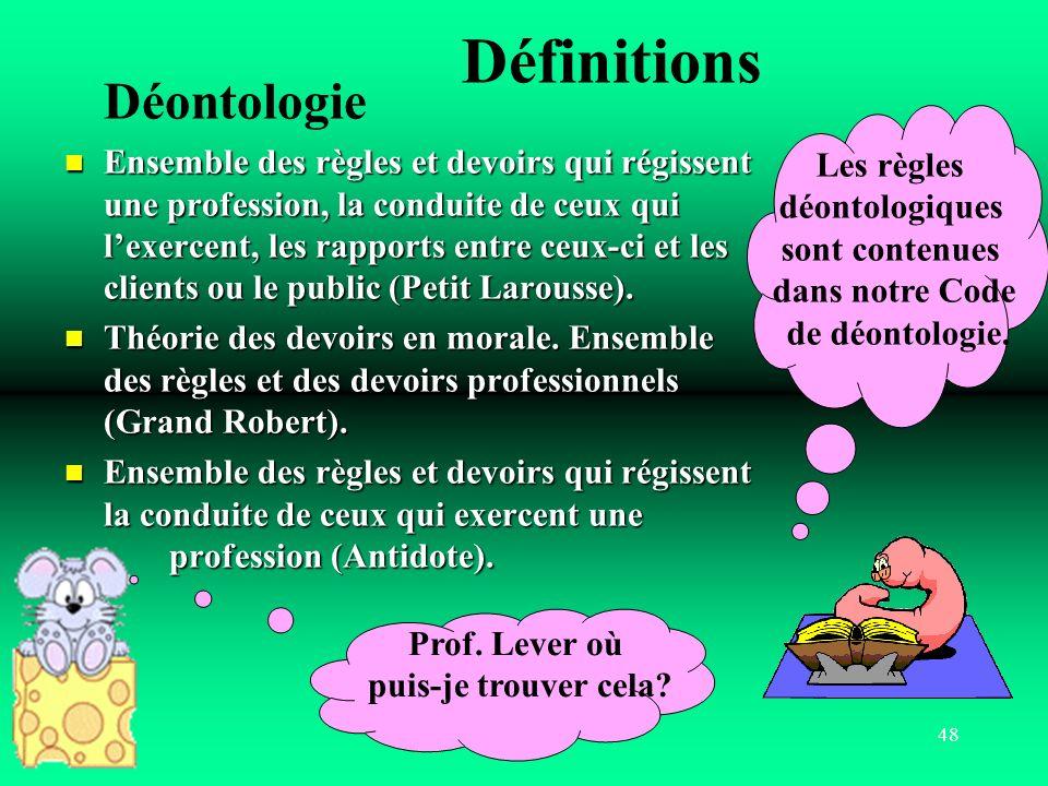 Définitions Déontologie