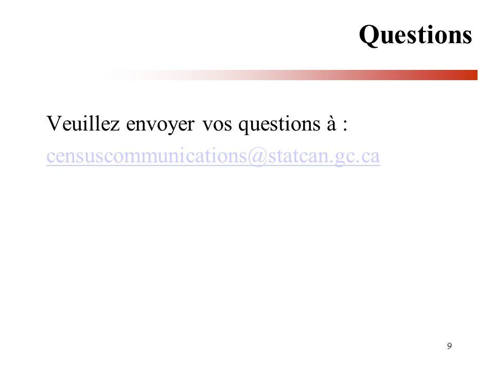 Questions Veuillez envoyer vos questions à :