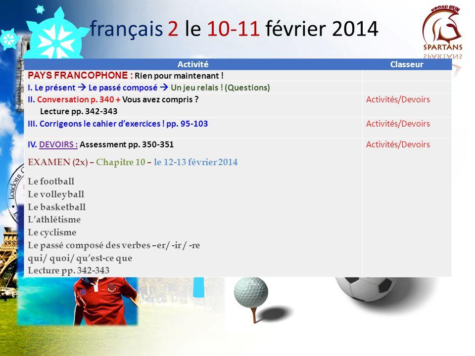 français 2 le 10-11 février 2014 Activité Classeur