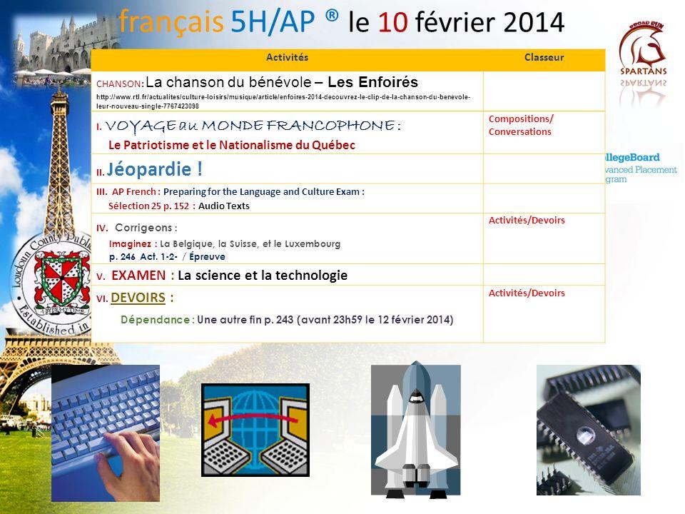français 5H/AP ® le 10 février 2014