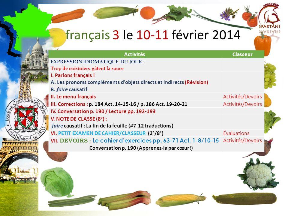 français 3 le 10-11 février 2014 Activités Classeur