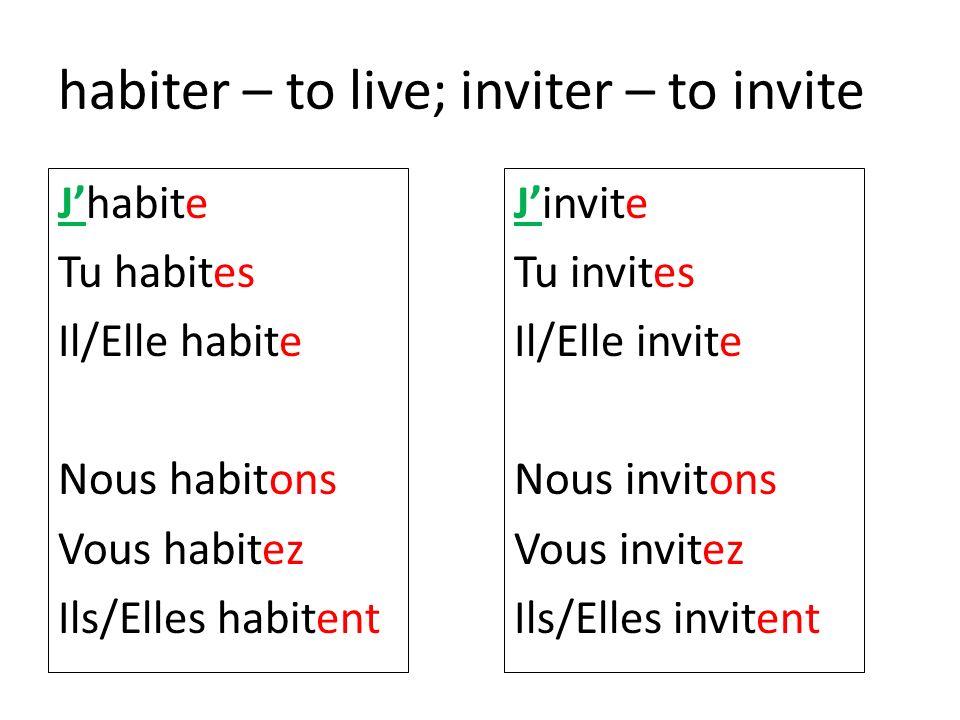 habiter – to live; inviter – to invite