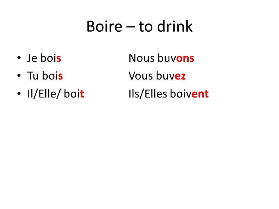 Boire – to drink Je bois Nous buvons Tu bois Vous buvez