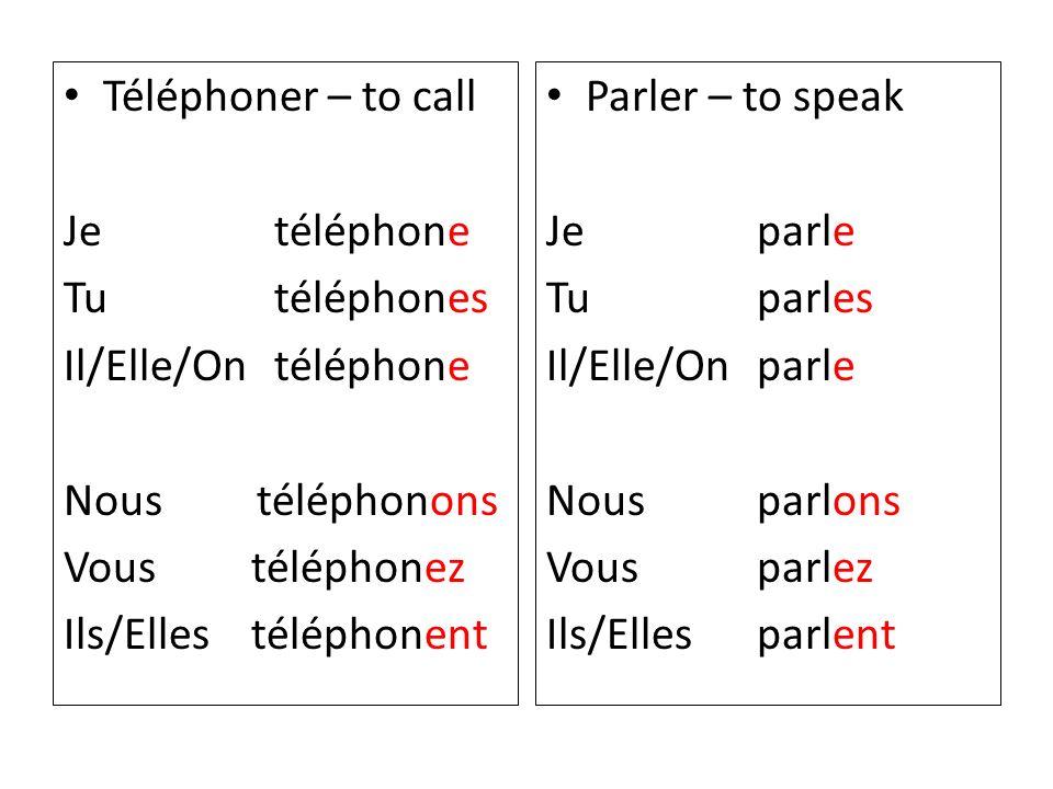 Téléphoner – to call Je téléphone. Tu téléphones. Il/Elle/On téléphone. Nous téléphonons.