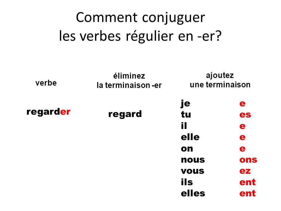 Comment conjuguer les verbes régulier en -er