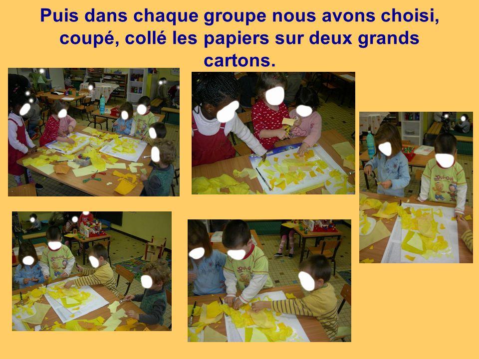 Puis dans chaque groupe nous avons choisi, coupé, collé les papiers sur deux grands cartons.
