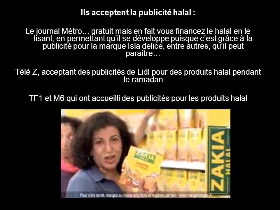Ils acceptent la publicité halal :