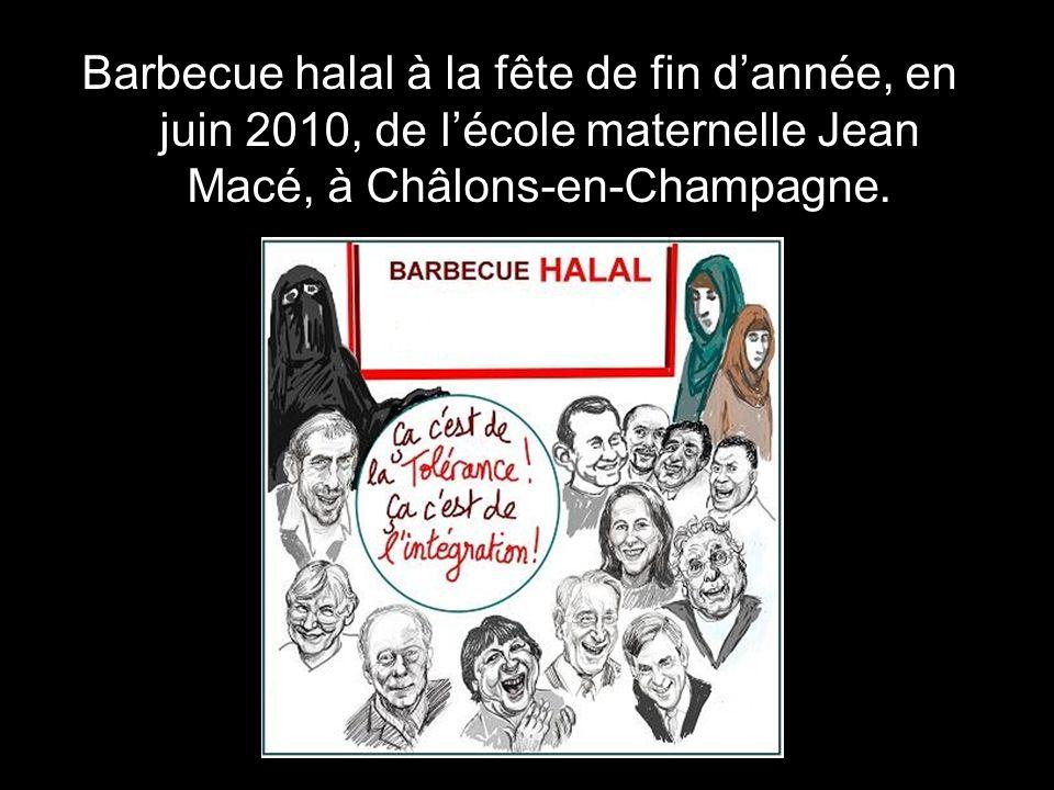 Barbecue halal à la fête de fin d'année, en juin 2010, de l'école maternelle Jean Macé, à Châlons-en-Champagne.