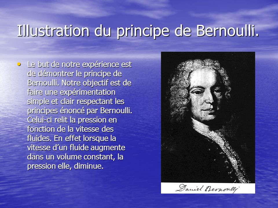 Illustration du principe de Bernoulli.