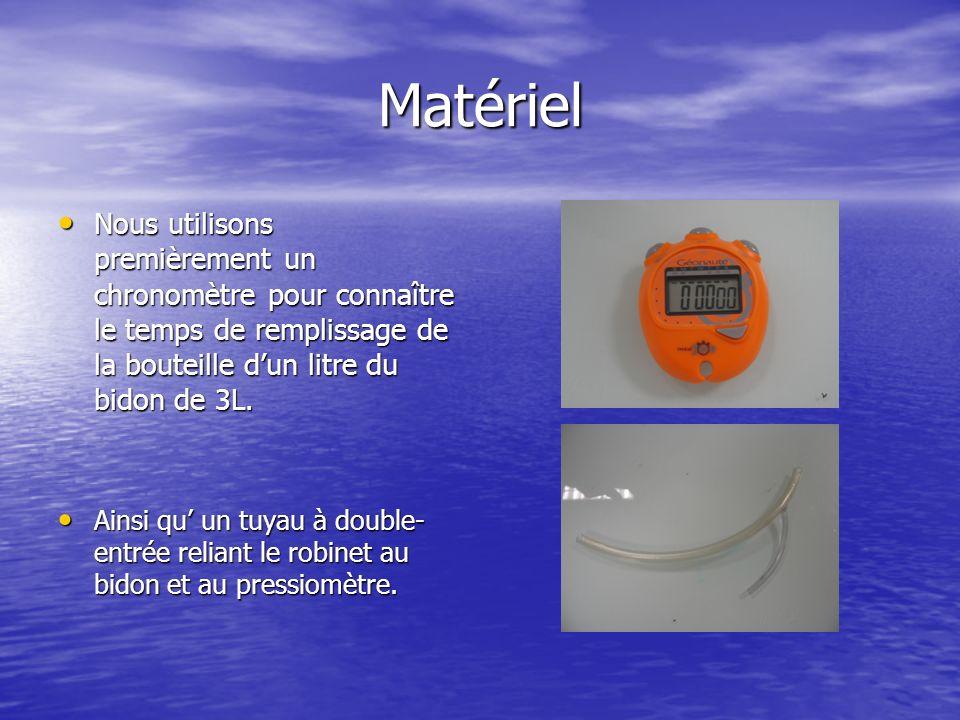 Matériel Nous utilisons premièrement un chronomètre pour connaître le temps de remplissage de la bouteille d'un litre du bidon de 3L.