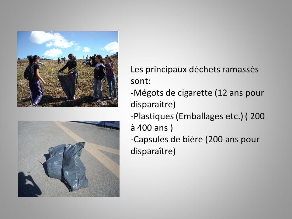 Les principaux déchets ramassés sont: