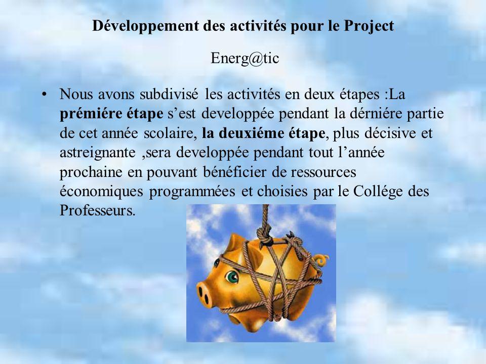 Développement des activités pour le Project Energ@tic