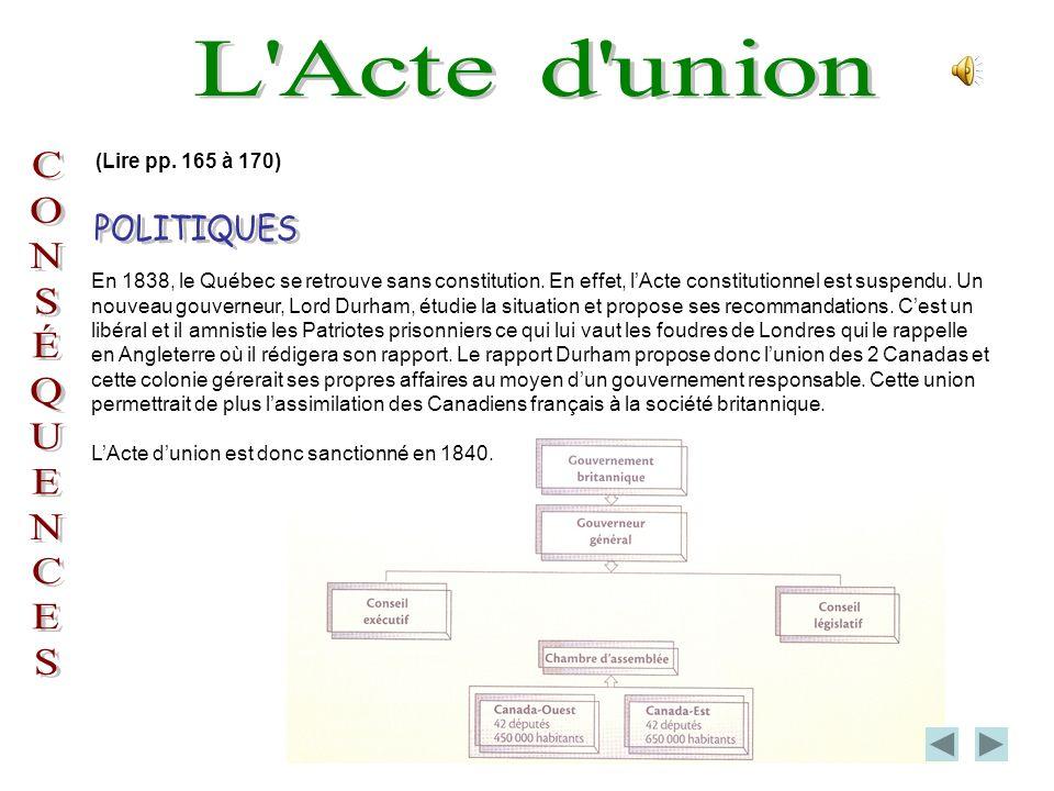 L Acte d union POLITIQUES C O N S É Q U E (Lire pp. 165 à 170)