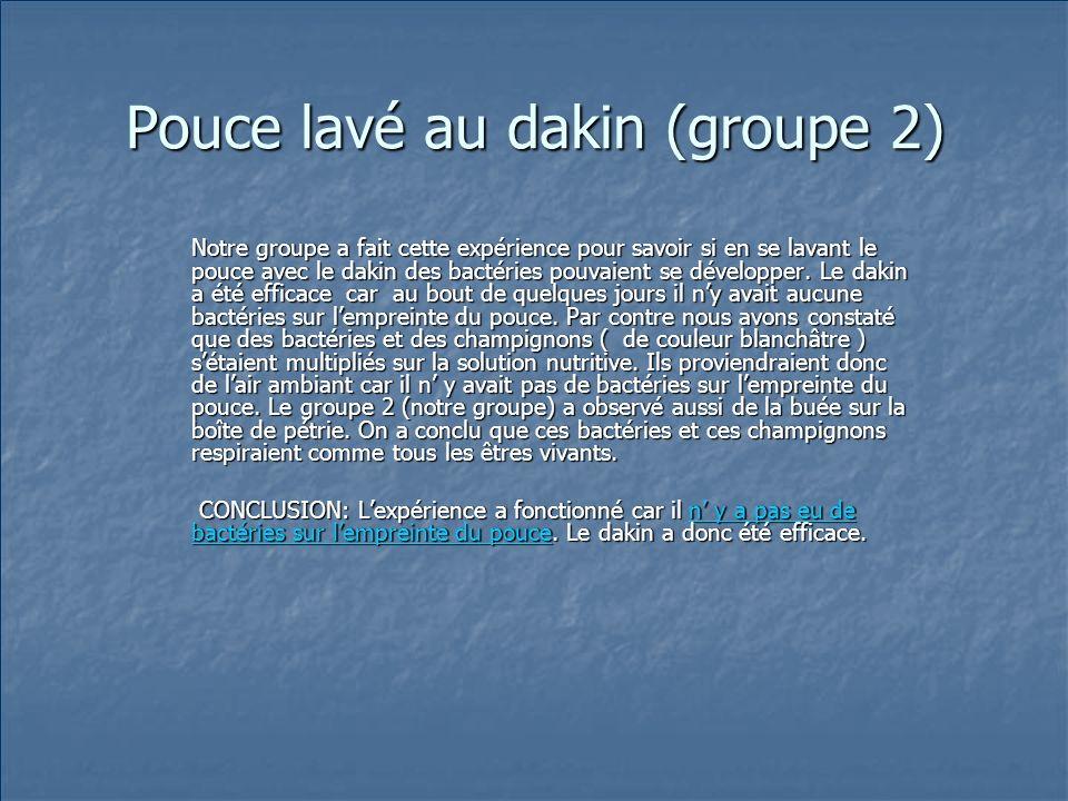 Pouce lavé au dakin (groupe 2)