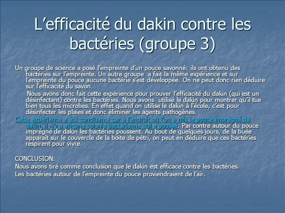 L'efficacité du dakin contre les bactéries (groupe 3)